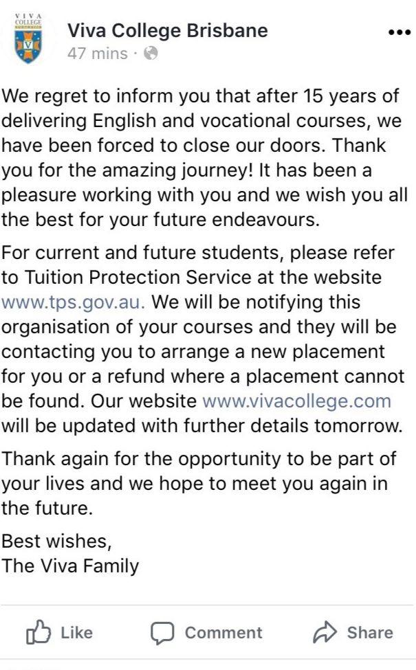 Facebookに投稿されたVIVA College倒産のお知らせ